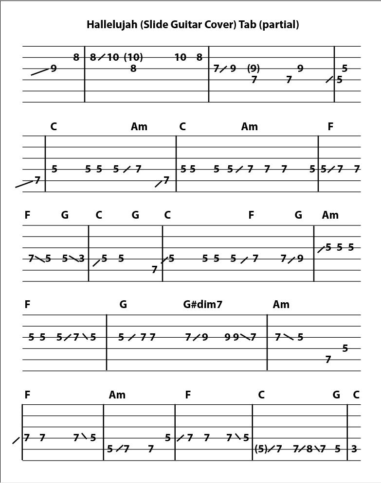 Hallelujah Slide Guitar Cover Wpartial Tab The Art Of Guitar