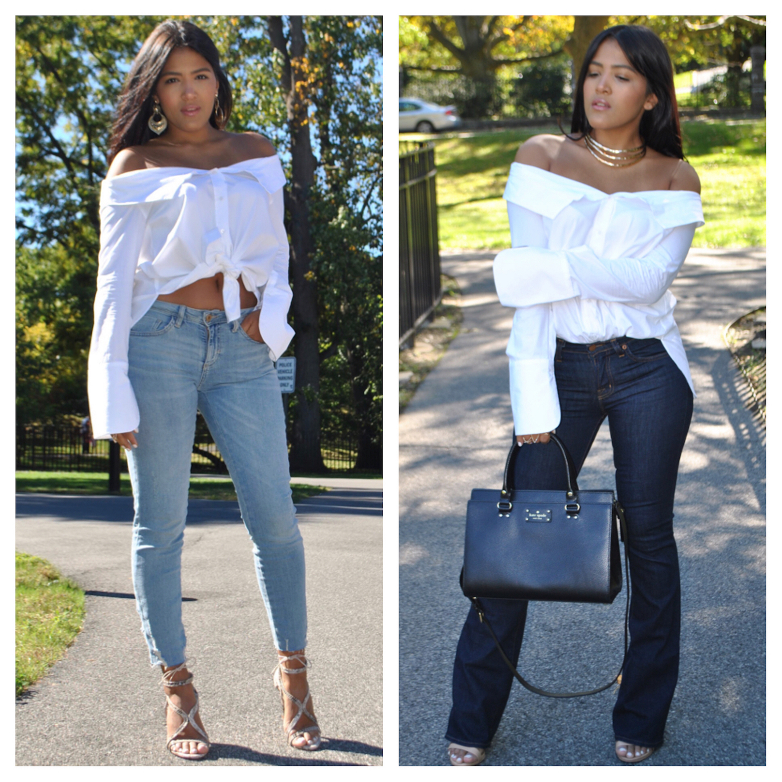 4 ways to wear a white button down shirt:Day & Night ...