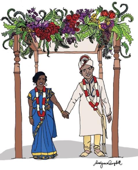 Wedding Portrait illustration, Pen & ink, digital illustration