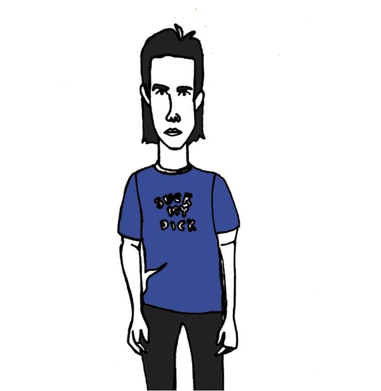Rockstar Nick Cave Portrait illustration, Pen & ink, digital illustration