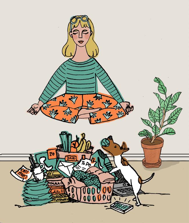 Self Care, meditation, Editorial illustration, Pen & ink, digital illustration