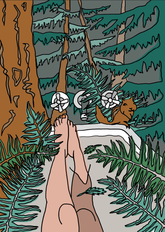 Self Care, forest bathing, Editorial illustration, Pen & ink, digital illustration