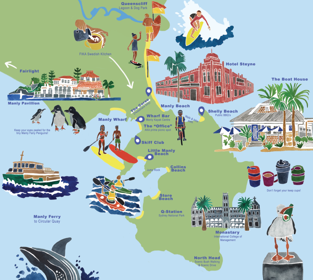 Illustrated Map of Manly, NSW, Australia.png