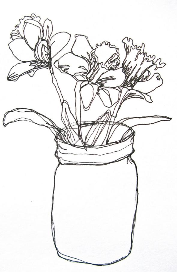 Continuous Line Daffodils by corrieberrypie.blogspot.com.au