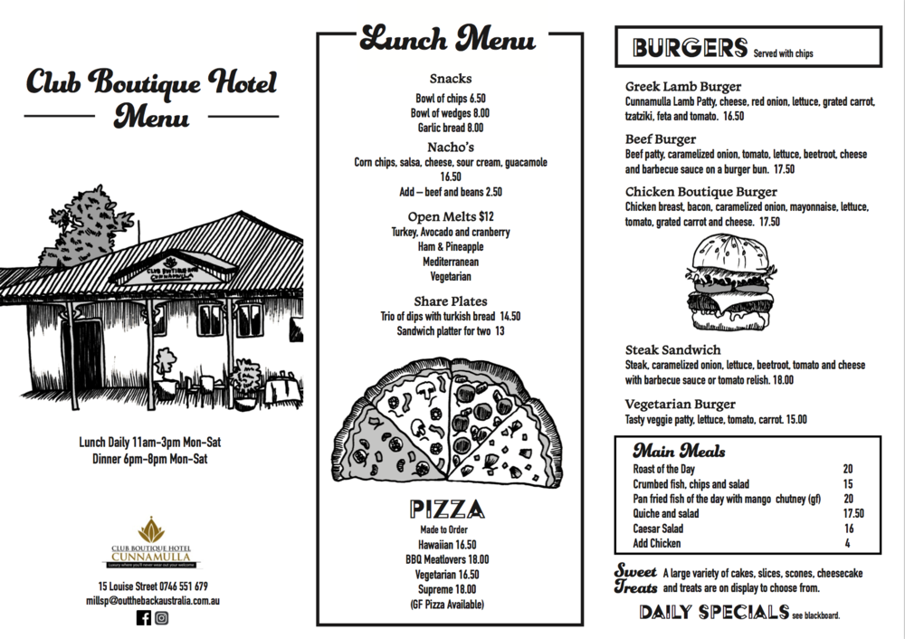 Menu illustration and design