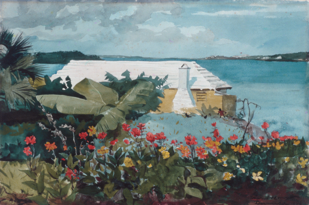 Winslow Homer, 1899, Flower Garden and Bungalow, Bermuda