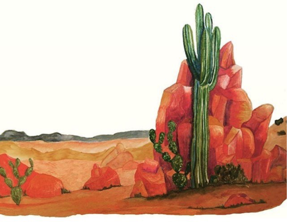 And lastly, NOT a famous painting but one of my favourite watercolours that I've done inspired by my time in The Desert.