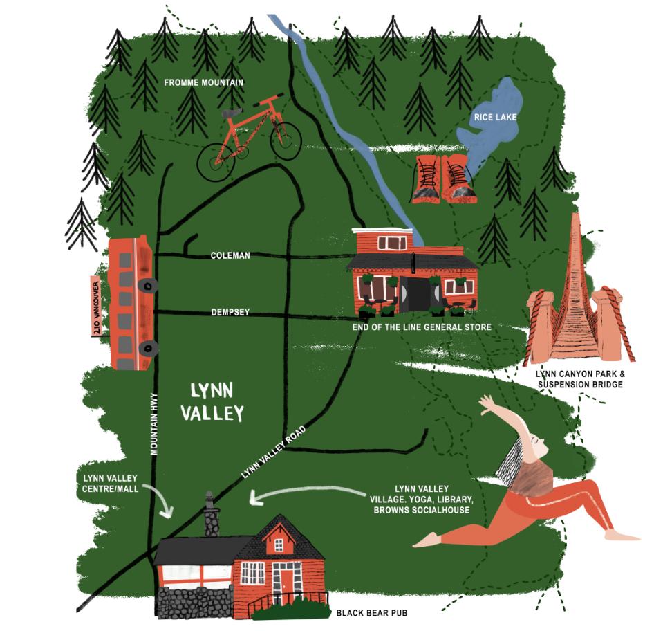 Illustrated map, Sarah Campbell illustration
