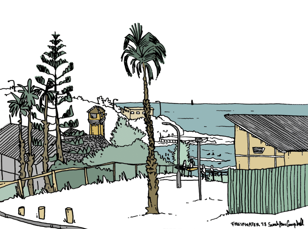 illustration-pen-ink-digital-beach-australia