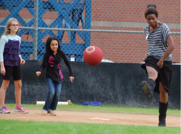 Kickball during recess in a skirt, boots, and a sweater  - that's me.  Passion Overflowing.