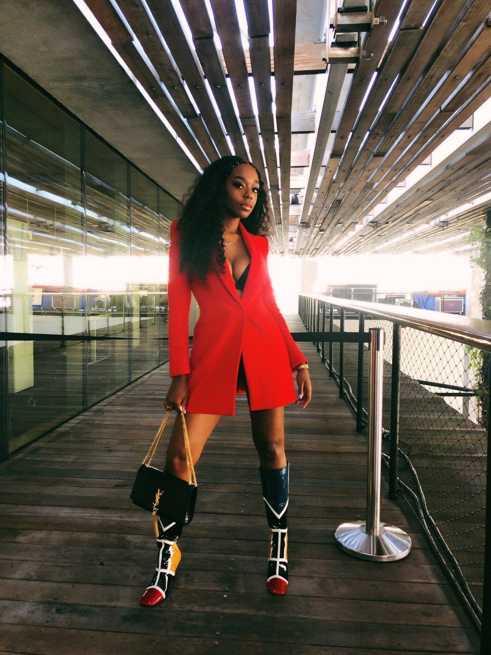 Blazer dress from Zara, boots Duteyamur, Purse Saint Laurent