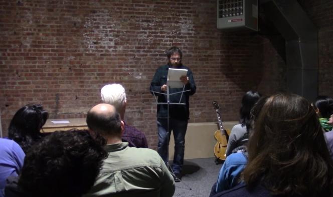 Anselm Berrigan reading at the SculptureCenter.