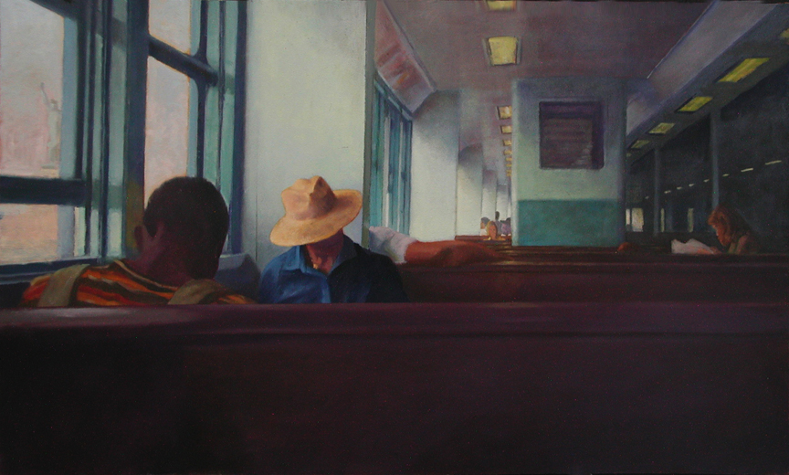 Staten Island Ferry  Nigel Van Wieck Oil on Panel 11 x 14 inches