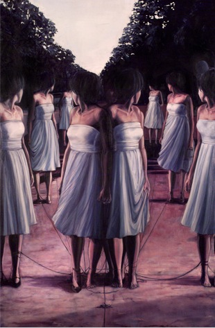 You Can't View the world Through a Mirror (After Vanessa Beecroft)  Gabriel Garza Oil on Canvas, 48 x 72 inches