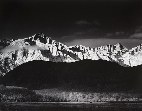 Ansel Adams'  Winter Sunrise, The Sierra Nevada from Lone Pine, California  (1944)