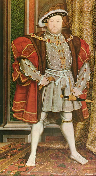 Henry VIII.  Portrait by Hans Holbein the Younger.