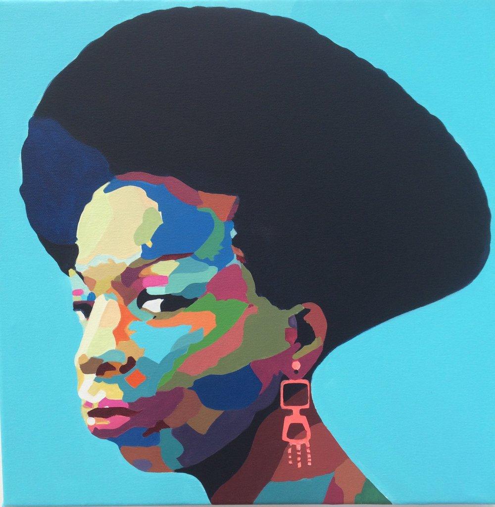 Amaya Iturri     Nina Simone,   2016  Acrylic on canvas  50 x 50 cm  Reserve Price:Coming Soon