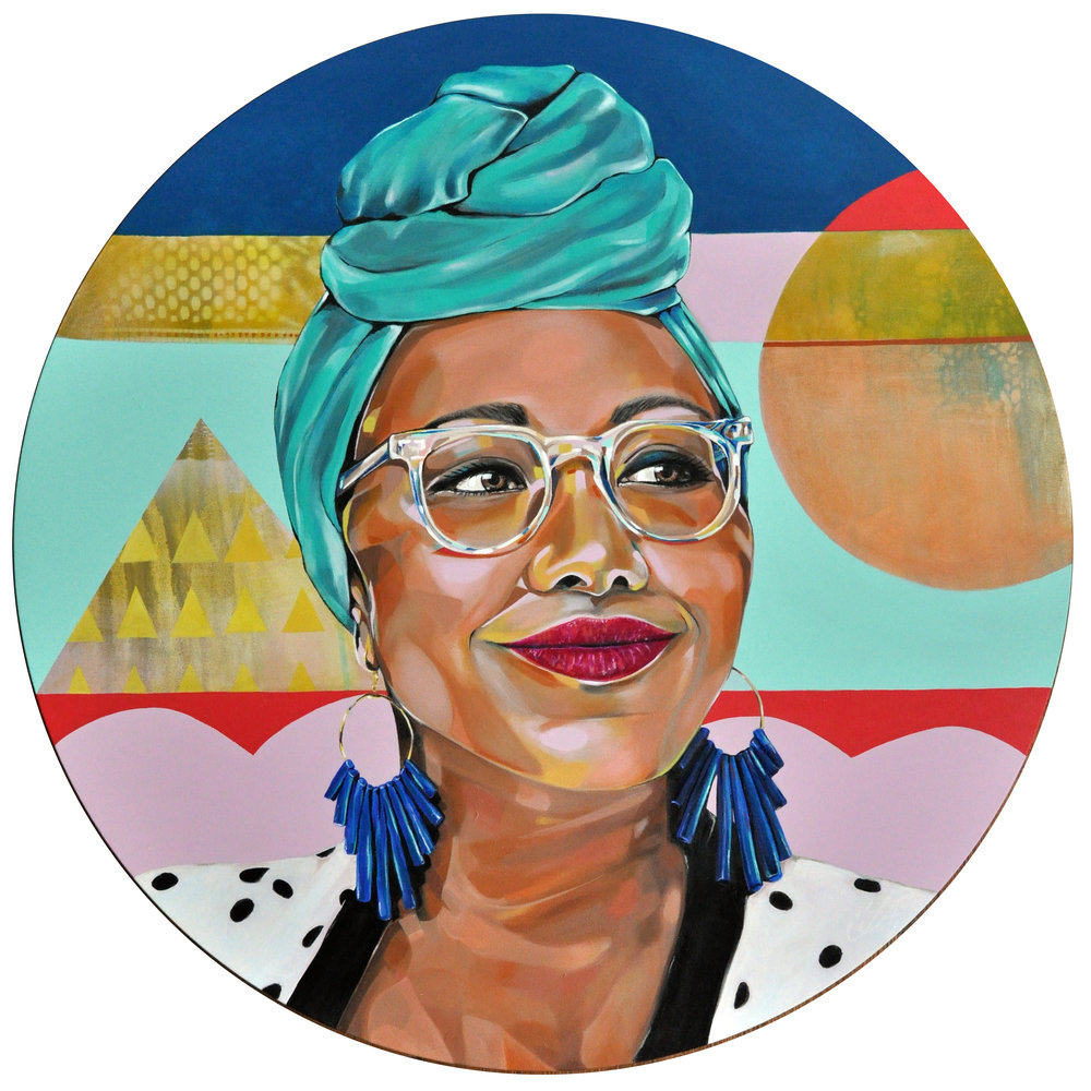 Tamara Armstrong Yassmin Abdel-Magied, 2016 Oil on stretched circular canvas 76 cm diameter