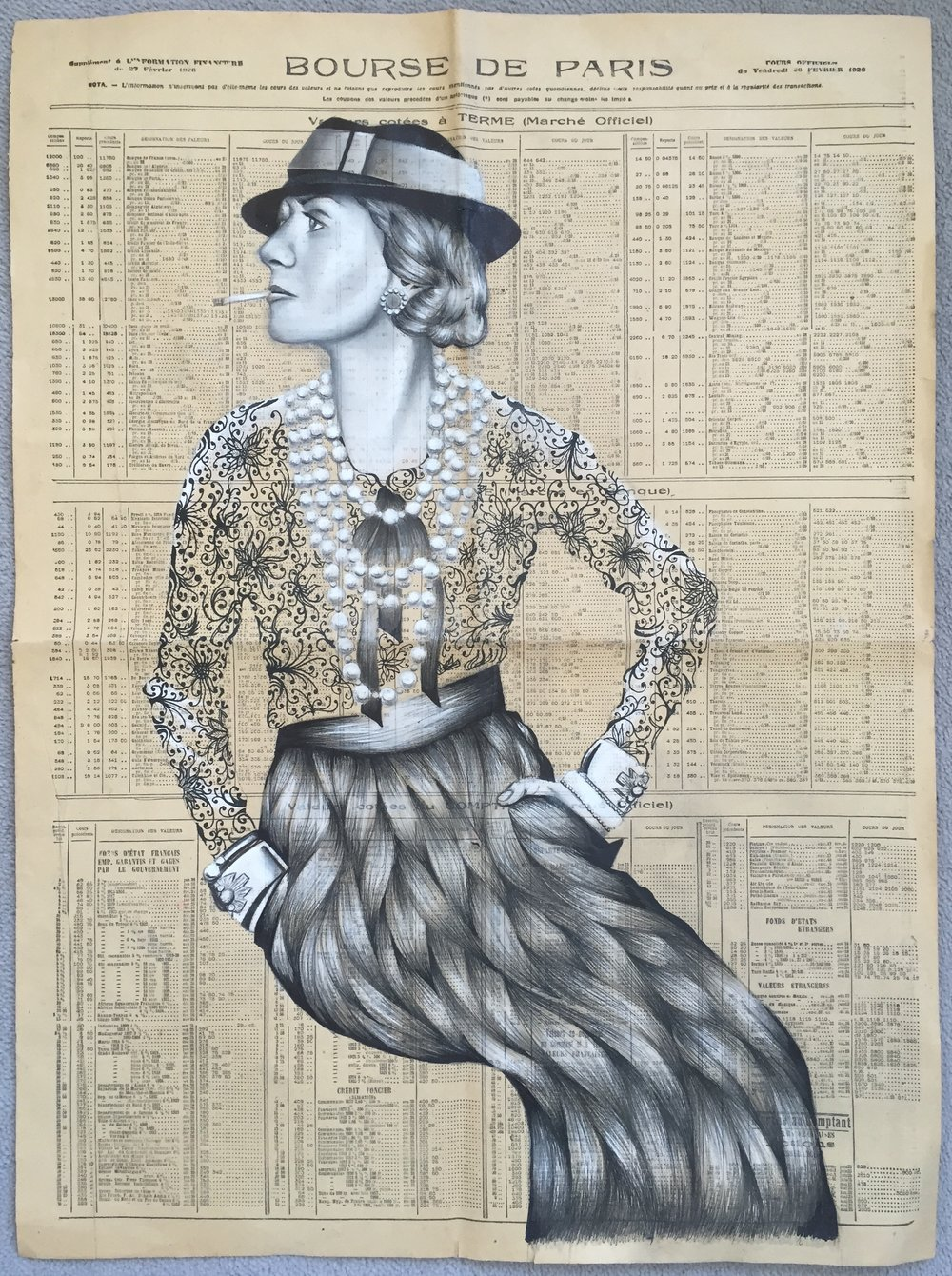 Jean-Baptiste Vincent Coco Chanel, 2016 Pencils, coloured pencils and ink on newspaper 42 x 59.4 cm