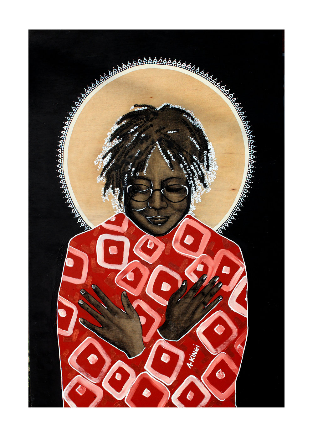 Amber Kingi Alice Walker, a Heroic Example of Individualism and Nonconformity, 2016 Acrylic and charcoal on plywood 90 x 60 cm Reserve Price: Coming Soon