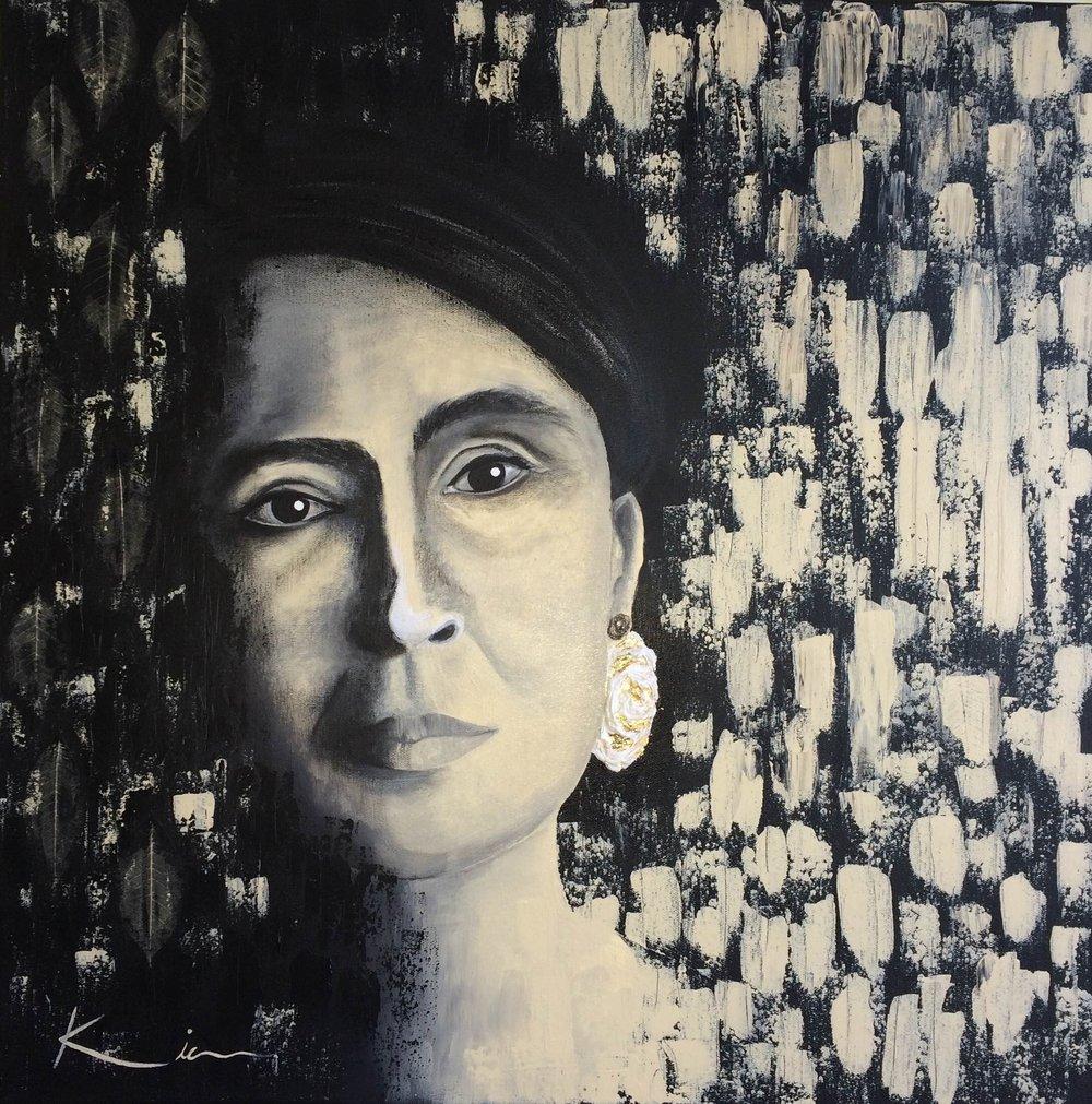 Zohreh Izadikia  Aung Sun Suu Kyi ,  2016 Acrylic on canvas 60 cm x 60 cm