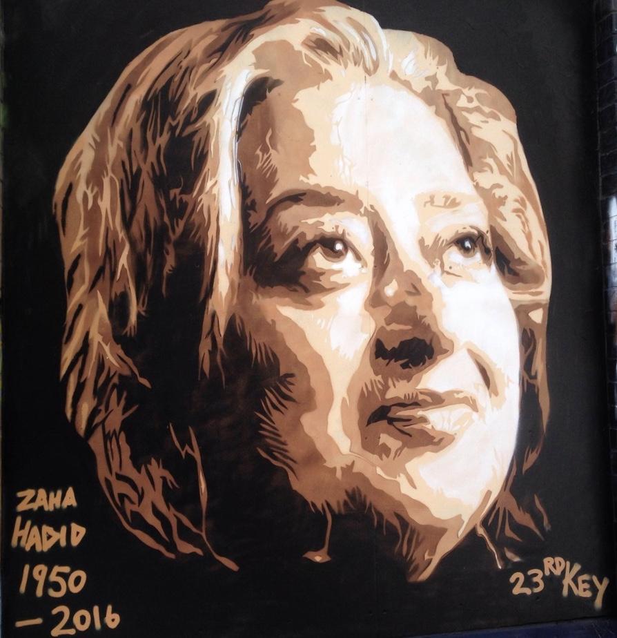 23rd Key     Zaha Hadid ,  2016  Stencil on paper  100 cm x 100 cm