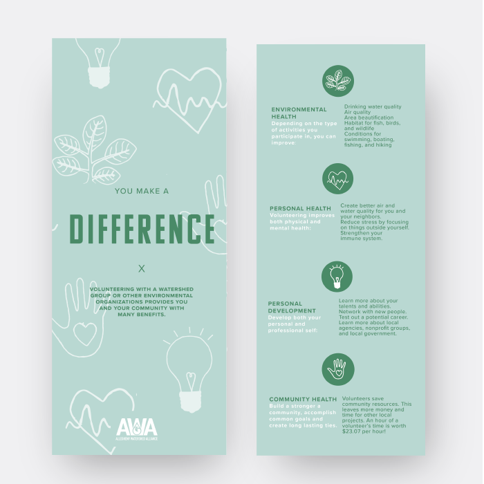 Make a Difference Handout Volunteering is good for the environment, body, mind and community. Let's build a team of environmental stewards for the good of us all.  Download here: