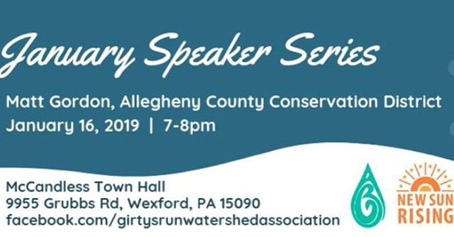 Join the Girty's Run Watershed Assoc Winter Speaker Series on January 16 to learn something new and break up the winter blues!  #community #alleghenycounty #mccandless #municipalsupport #speakerseries #watereducation
