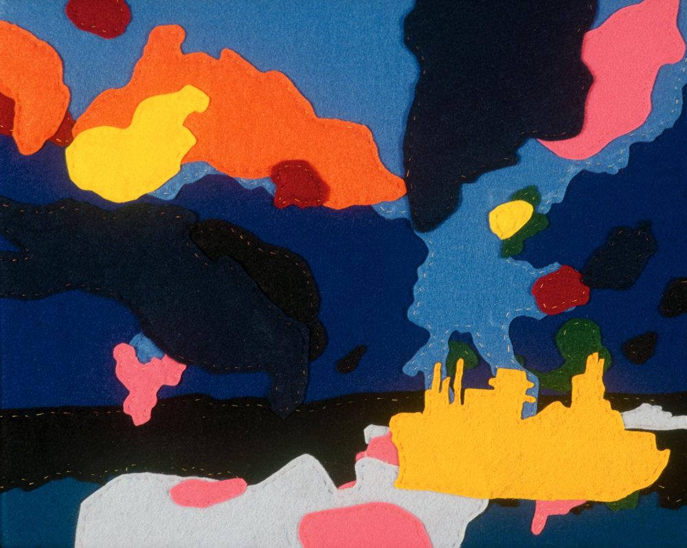 "Untitled, 2007, hand sewn felt, 14""x11"""