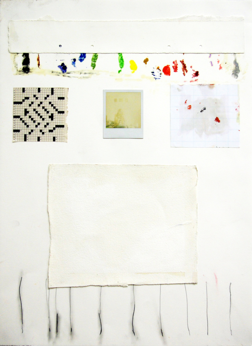 "Memory Study, pencil, oil, and collage on paper, 34""x44"""