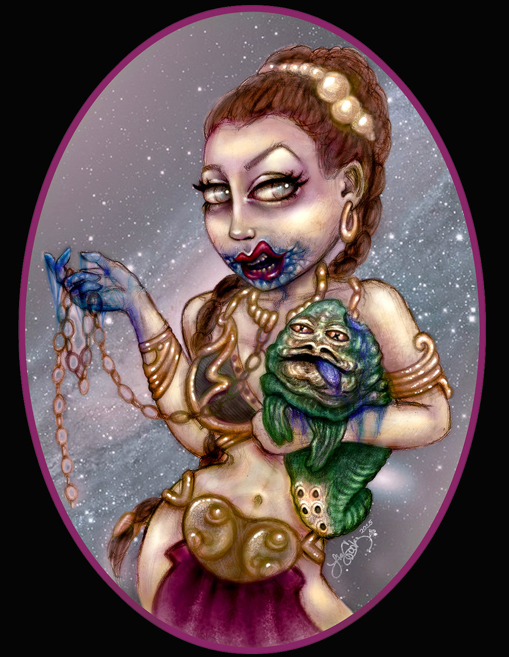 """Zombie Princess Leia""  Pencil, Digital    2015"