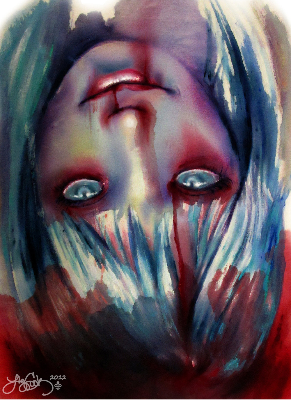 """Bloody Head""  Watercolor    2012"