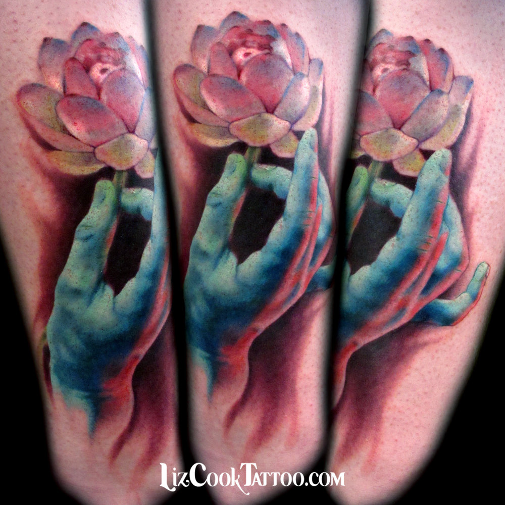 Liz Cook Tattoo Lotus Blue Hand Color Realism Buddha Lower Leg Calf.jpg
