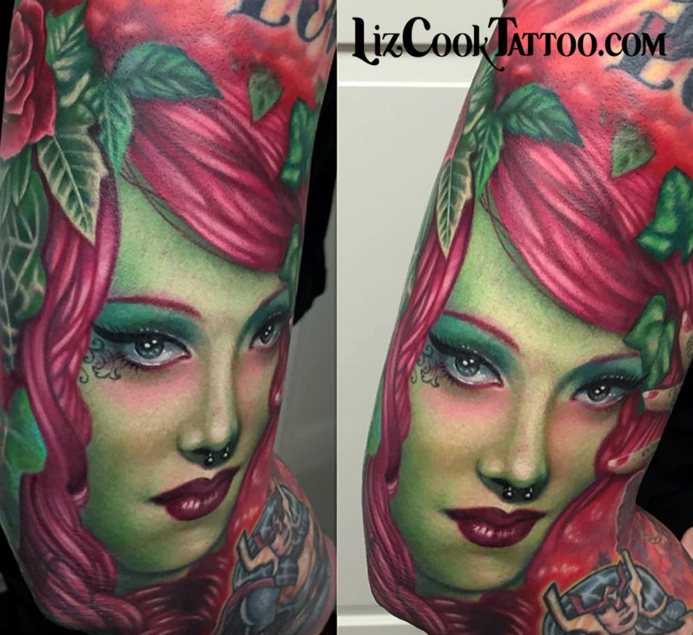 Liz Cook Tattoo Portrait Marlene Dietrich Poison Ivy Color Illustrative Realism.jpg