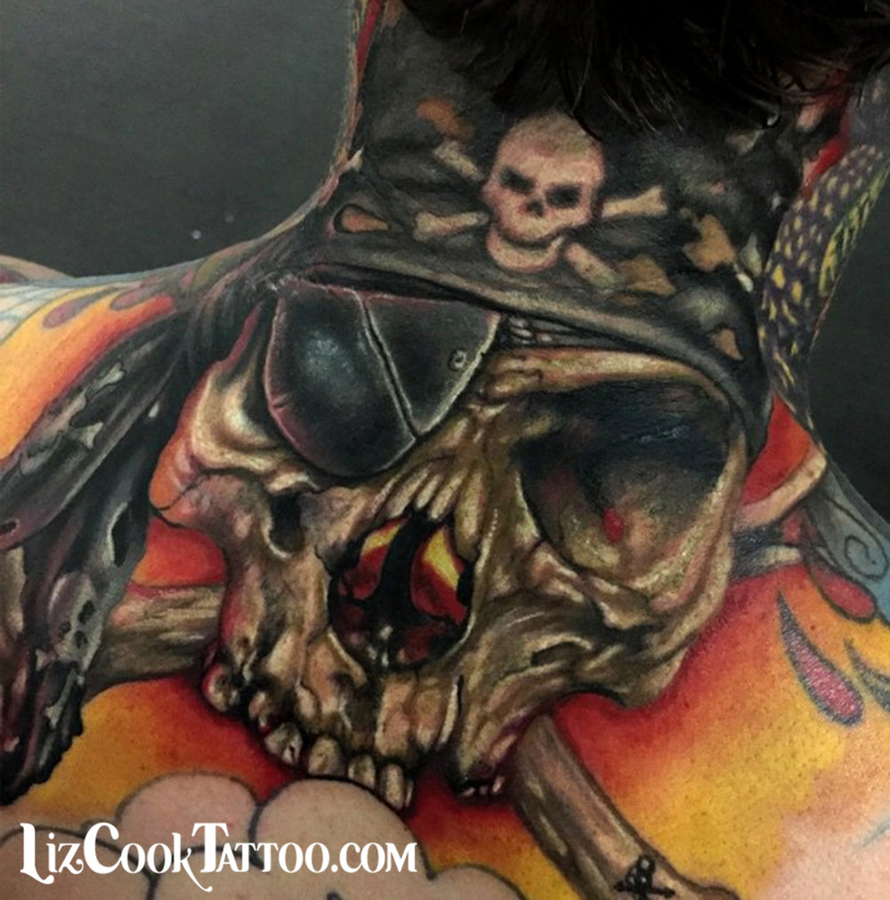 Liz Cook Tattoo Skull Pirate Cross Bones Back Neck Illustrative Realism.jpg