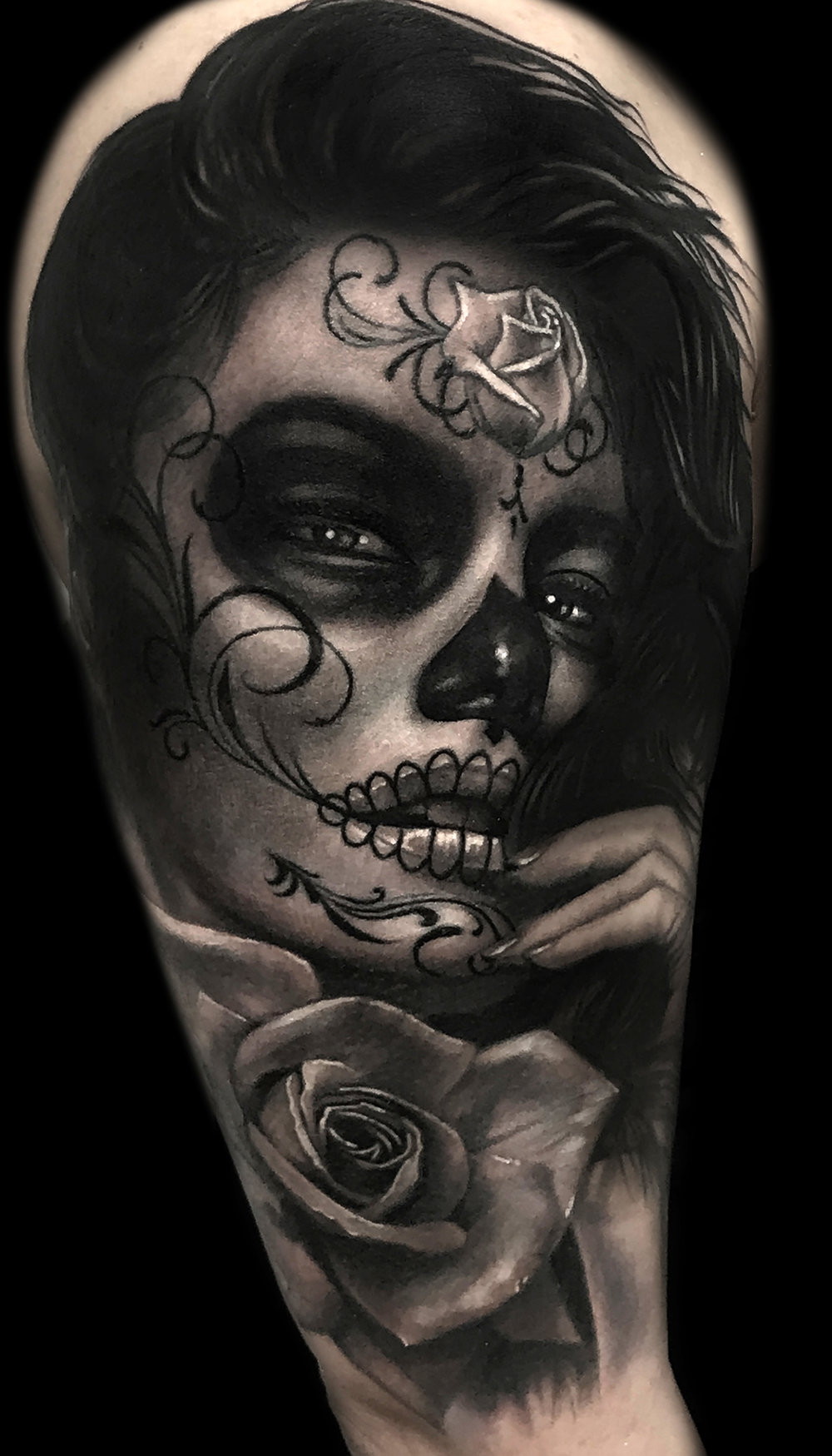 Liz Cook Tattoo Liz Girl DOD Rose Black & Gray Upper Arm.jpg