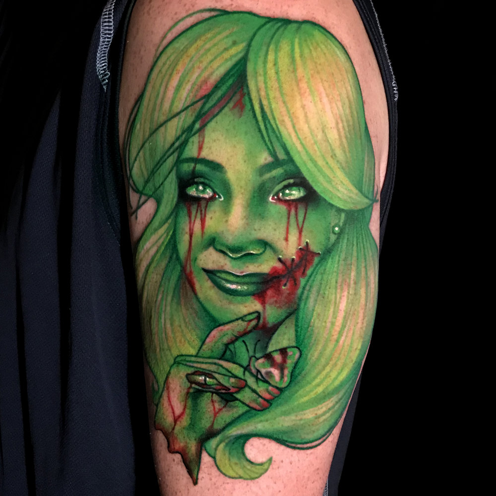 Liz Cook Tattoo Zombie Color Portrait Wife Anna Illustrative Realism Green Upper Arm.jpg