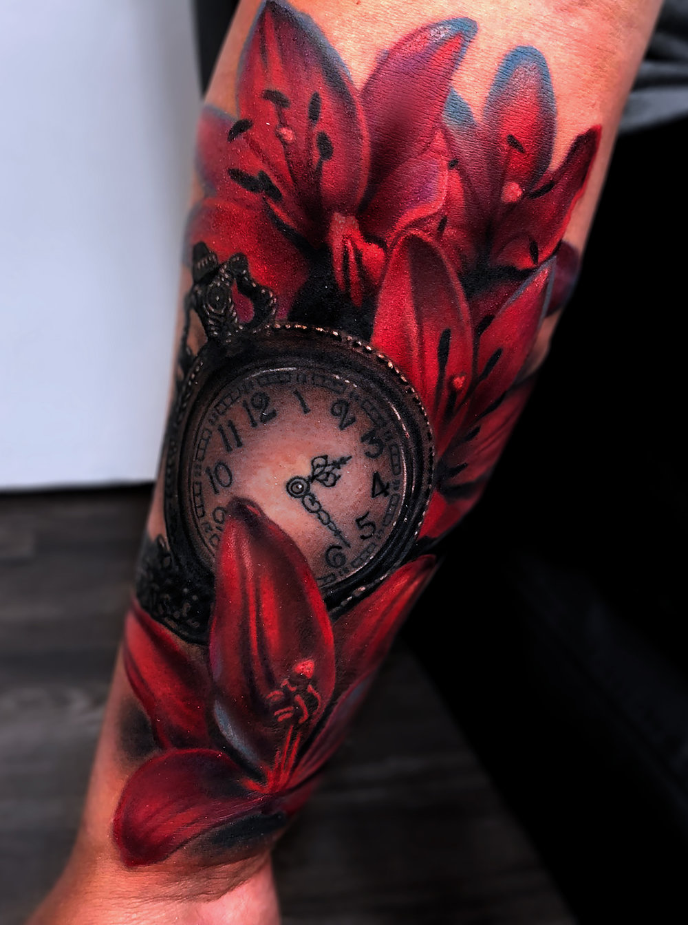 Liz Cook Tattoo Lillies & Pocket Watch Color & Black & Gray.jpg