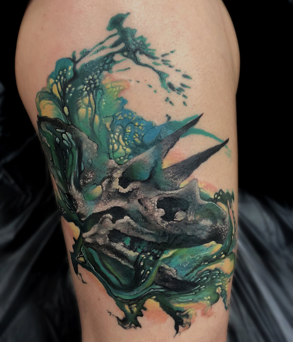 Liz Cook Tattoo Triceratops Fluid Paint Greens Color.jpg