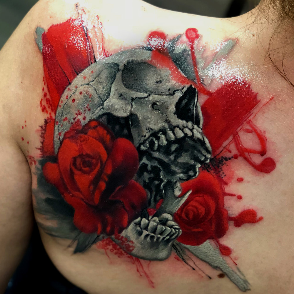 Skull Red Roses Trash Polka Liz Cook Tattoo.jpg