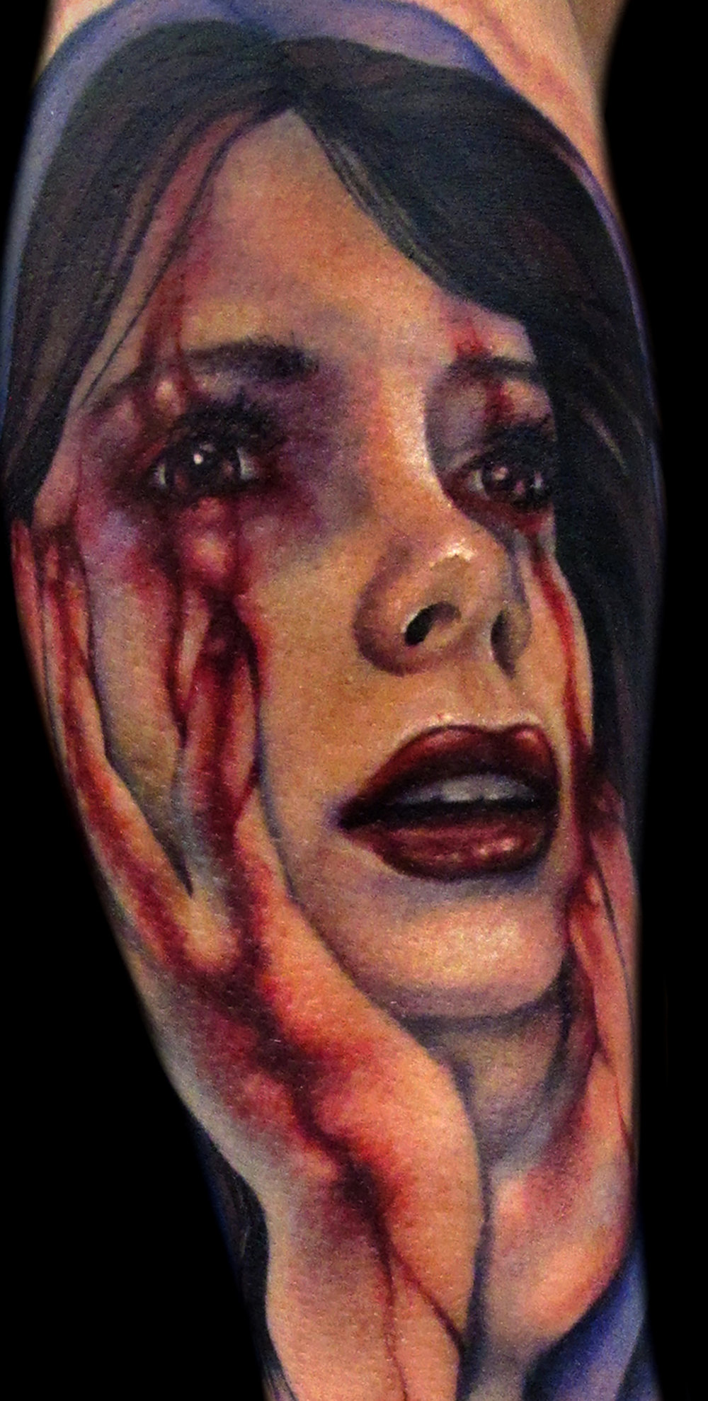 Liz Cook Tattoo Blood Hands Virgin Mary Horror Realistic Color Portrait.jpg