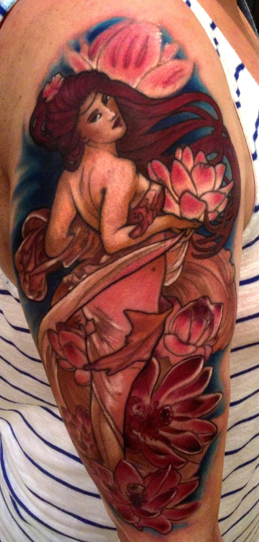 Liz Cook Tattoo Mucha Pinup Lotuses.jpg