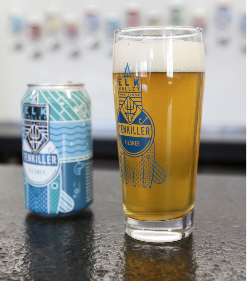 Elk Valley Brewing Tenkiller Pilsner in the Taproom