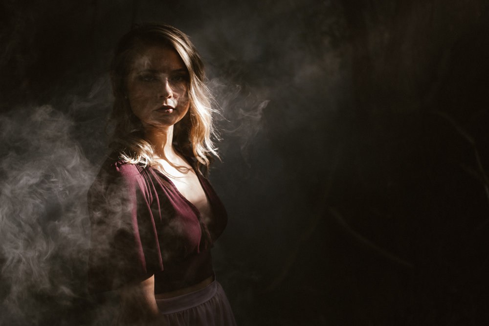 portrait of model with smoke in south florida by katie decker photography