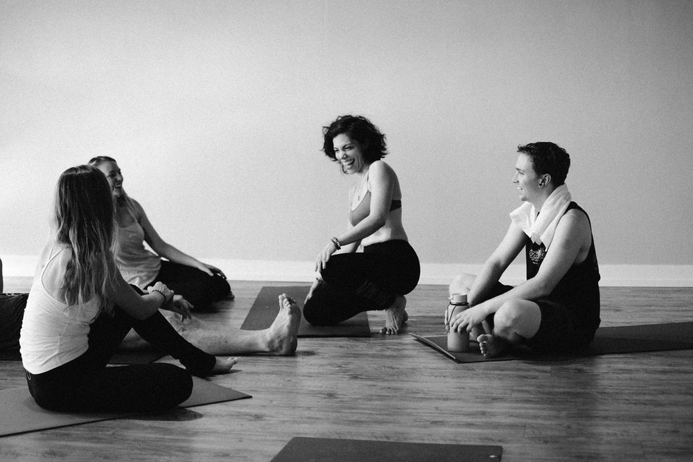 yoga class in black and white