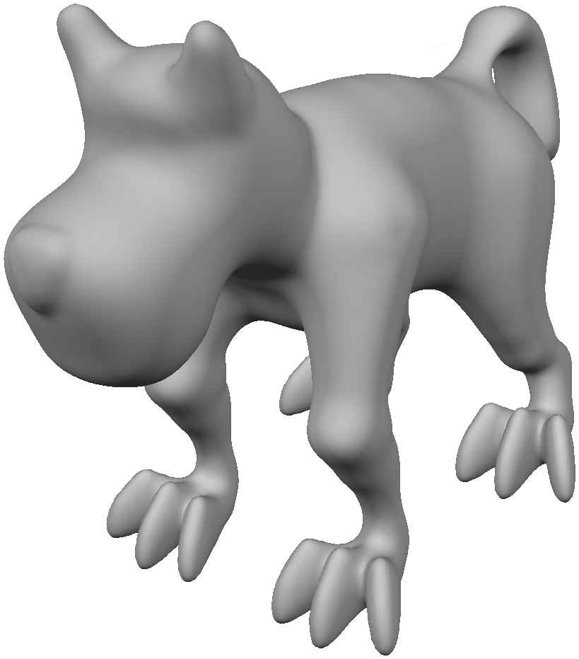 The meshed version of this dog model has shown up in quite a few papers, and we included it in Meshmixer