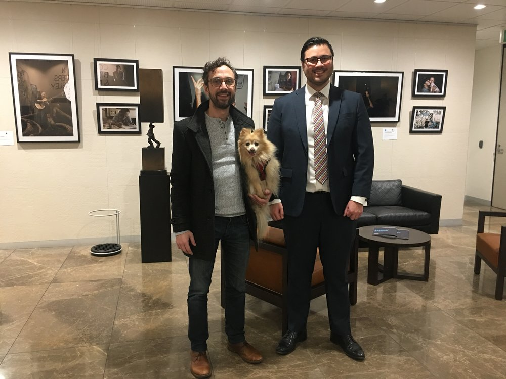 Marrickville Legal Centre's Vasili Maroulis (with Pomeranian, Nala) and CBP's Rory Smith