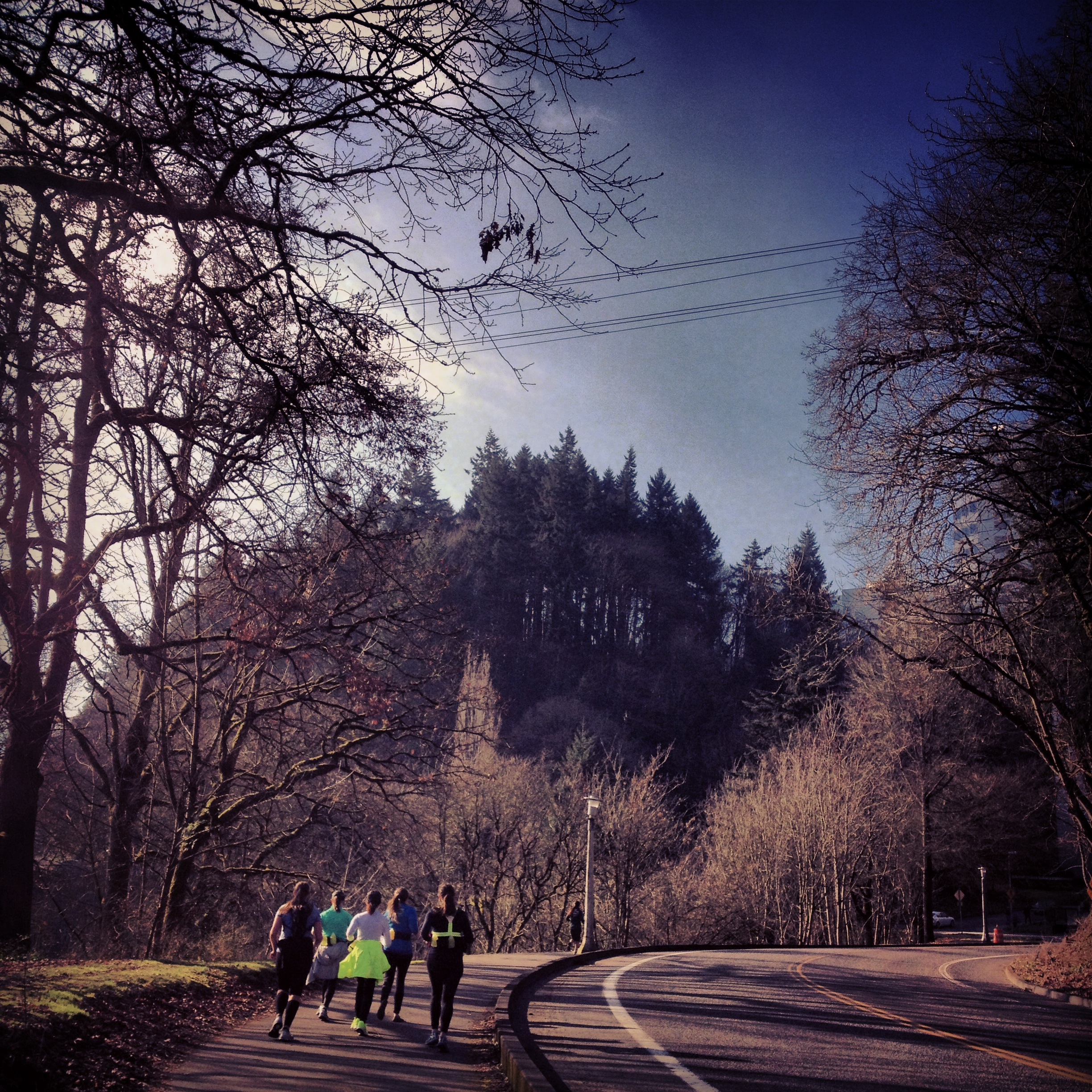 Climbing up Terwilliger with the ladies. Great Sunshine!