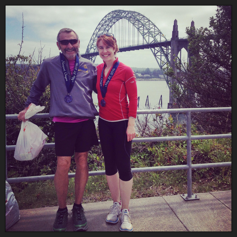 Post-Marathon obligatory pose by a beautiful bridge.