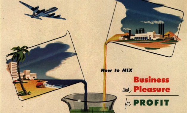 A  vintage ad  from Delta showing the travel industry's long-standing marketing efforts to blend leisure and business travel.